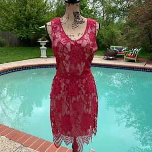 Tart Lila Floral Lace Cut-Out Dress, M